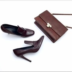 HP/ Zara Burgundy High Heel Loafers Beautiful Burgundy Patent Loafer style heels. Never been wore. There is small scratch on the back of one heel because of shoe handling. These shoes have no box. Heels are 3.5 Zara Shoes Heels
