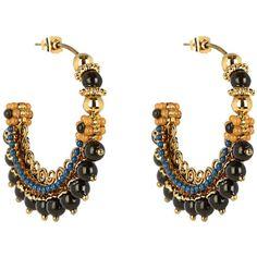 Etro Bead-embellished hoop earrings ($400) via Polyvore featuring jewelry, earrings, spiral earrings, boho earrings, spiral hoop earrings, beaded jewelry and beaded hoop earrings
