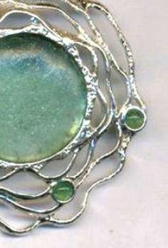 Roman glass necklace Designer Sterling silver by Bluenoemi on Etsy, $255.00