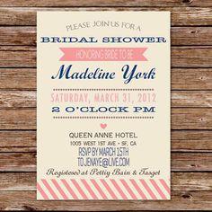 Vintage pink invitation to bridal shower EWBS017