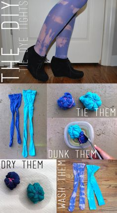 1. Crumble up your tights and tie them up with with rubber bands.  2. Dunk the tights in a bowl of bleach. Make sure every part of the fabric is being drenched in bleach. Let them sit for about 30 minutes.  3. Set the tights out to dry.  4. Once the tights have dried completely, wash them as you normally would and wear them!