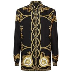 Versace Oversized Baroque Print Shirt ($1,005) ❤ liked on Polyvore featuring men's fashion, men's clothing, men's shirts, men's casual shirts, mens oversized shirt, versace mens shirt and mens baroque shirt