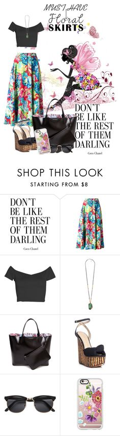"""""""floral skirt"""" by koutso-bola ❤ liked on Polyvore featuring Kenzo, Boohoo, Forever 21, Givenchy, Charlotte Olympia, Casetify and Floralskirts"""