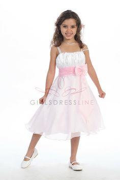 I Love It! White/Pink Satin Bodice Organza Flower Girl Dress on www.GirlsDressLine.Com