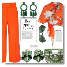 """Pops of orange"" by missy-gaga ❤ liked on Polyvore featuring Diane Von Furstenberg, Cult Gaia, Rue St., Oscar de la Renta, H&M, Ray-Ban, orangeoutfit and popsoforange"
