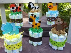 Find baby shower centerpieces and baby boy shower centerpieces from a vast selection of Diaper Cakes. Get great deals on Baby Cakes, Baby Shower Cakes, Idee Baby Shower, Mesas Para Baby Shower, Mini Diaper Cakes, Shower Bebe, Baby Shower Parties, Baby Shower Themes, Baby Boy Shower