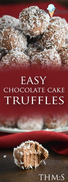 Easy Chocolate Cake Truffles - no baking required! THM:S, low carb, sugar free, gluten/egg/nut free (Christmas Bake Truffles) Low Carb Candy, Low Carb Sweets, Low Carb Desserts, Sugar Free Candy, Sugar Free Desserts, Sugar Free Recipes, Trim Healthy Mama Diet, Healthy Carbs, Thm Recipes