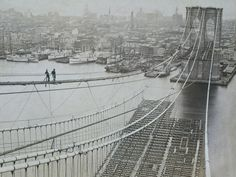 Two men standing on a high catwalk, surveying the construction of the Brooklyn Bridge, with Manhattan in the background, New York City, (Photo by Museum of the City of New York/Archive Photos/Getty Images) Brooklyn Bridge, Manhattan Bridge, Vintage New York, Bridge Builder, Photos Rares, Bridge Construction, Suspension Bridge, Living In New York, Belle Photo