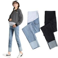 The new spring and autumn foot stitching small straight pants pregnancy jeans maternal clothes is so causal and loose you will love it. #maternityskirt #maternitybuttom #maternityskirtoutfits #skirt Pregnancy Jeans, Maternity Skirt, Soft Pants, Elastic Waist, Mom Jeans, Stitching, Autumn, Outfits, Skinny