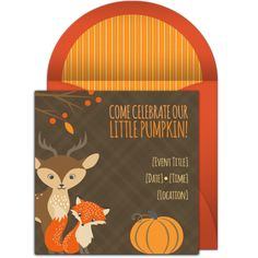 """Love this """"Little Pumpkin"""" design! Free, adorable online invitation perfect for a Fall 1st birthday party."""