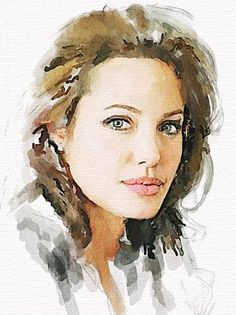 Angelina Jolie by Vitaly Shchukin - Watercolor portrait Watercolor Portrait Painting, Watercolor Face, Watercolor Artists, Watercolor Illustration, Painting & Drawing, Portrait Au Crayon, Portrait Art, Portrait Ideas, Painting People