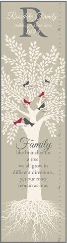 Family Tree with Birds Canvas Growth Chart   Jack and Jill Boutique