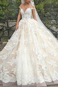 Lace Appliques long A-line wedding dress, cheap Ivory wedding dress, Bridal Dress Online, FS9363