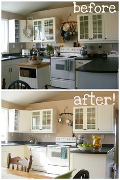 tips for kitchen staging (this lady has documented the process in the other rooms of her house too) Sell Your House Fast, Selling Your House, Home Renovation, Home Remodeling, Kitchen Staging, Kitchen Dining, Kitchen Cabinets, Home Staging Tips, Home Buying Tips