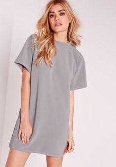 Short Sleeve Oversized Jumper Dress Grey