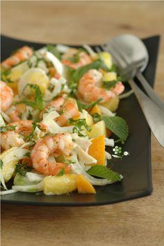 Salade fenouil, ananas, mangue, menthe, coriandre_2 Pinapple Salad, Fennel Salad, Fall Recipes, Pineapple, Potato Salad, Entrees, Sushi, Shrimp, Mango