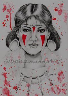 Princess Mononoke  pencil and acrylic drawing on 24x30  https://www.facebook.com/BrauckmannsART