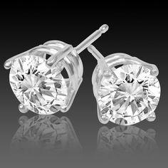 Diamond Stud Earrings, 2 Carat, SI3-I1/H-I, Very Good Cut 4 Prong Basket in 14K White Gold from Diamondstudsonly.com