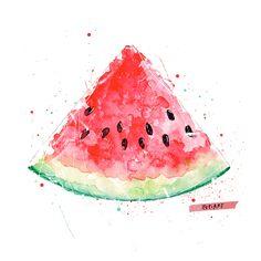 WATERMELON - PRINT // pepiart / shop / illustration / art / wohnen / deko / wassermelone / kunstdruck / poster / good vibes / summer / sommer / früchte / wasserfarbe / kunst (Cool Sketches Art)