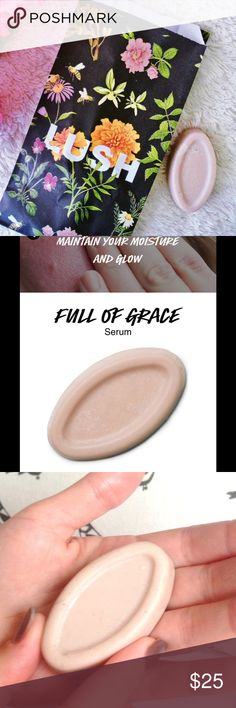 Full of Grace Face Serum Bar LUSH Brand New && Has Been Kept in the Fridge. 20G Bar. Purchased in Dec 2017. Maintain your moisture and glow with a solid moisturizer that's packed full of hydrating tropical butters, calming chamomile and antioxidant mushroom extract to keep skin in fantastic condition all year round. Easily absorbed by the skin, it creates a soothing treatment for the delicate skin on your face, helping you to maintain its elasticity, moisture and glow. It's gentle enough for…