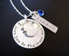 Ultimate I Love You To the Moon and Back Personalized Sterling Silver Necklace with Name and Birthstone. $48.00, via Etsy.