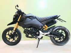 Honda Grom with Racingboy rims and Ohlins 14 Inch Rims, Honda Grom, Dream Cars, Motorcycles, Racing, Bike, Vehicles, Running, Bicycle