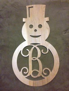 Snowman Single Initial Monogram Door Hanger -- Unfinished