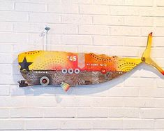 Coral Kohola No. Assemblage Kunst, Sculpture Art, Sculptures, Weird Fish, Black Wall Art, Fish Art, Recycled Art, Animals And Pets, Wood Projects
