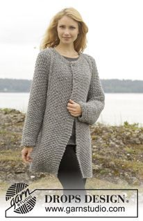 """Knitted DROPS jacket with seed st and raglan, worked top down in """"Cloud"""" or """"Eskimo"""". Size: S - XXXL. ~ DROPS Design"""