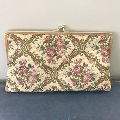 Vintage Walborg Western Germany Needle Point Floral Handbag  / Pink Rose Vintage Fabric Clutch Purse / 1950s Vintage Purse by VintageBaublesnBits on Etsy