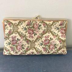 Vintage Walborg Western Germany Needle Point Floral Handbag  / Pink Rose Vintage Fabric Clutch Purse / 1950s Vintage Purse by VintageBaublesnBits on Etsy
