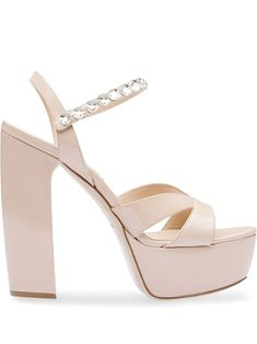 Shop online pink Miu Miu platform crystal-embellished sandals as well as new season, new arrivals daily. Mary Janes, Party Wear For Women, Espadrilles, Plateau Pumps, Studded Clutch, Miu Miu Shoes, Pearl Headband, Kitten Heel Pumps