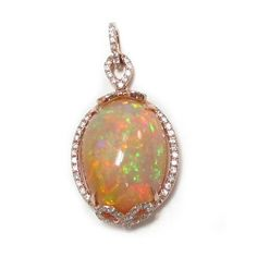 Opal and Diamond Pendant in Rose Gold