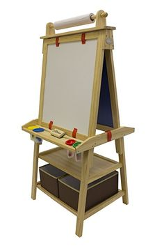 AmazonSmile : Little Partners Deluxe Art Easel (Green Apple) - Two Sided A-Frame Paint Easel, Chalk Board & Magnetic Dry Erase - w/ Storage, Supply Holder & Paper Feed - Art Station & Educational Tool for Toddlers : Baby