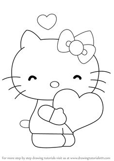 Learn How to Draw Hello Kitty with Heart (Hello Kitty) Step by Step : Drawing Tutorials Hello Kitty Drawing, Hello Kitty Cartoon, Hello Kitty Characters, Hello Kitty Coloring, Cartoon Characters, Unicorn Coloring Pages, Colouring Pages, Coloring Books, Disney Drawings Sketches