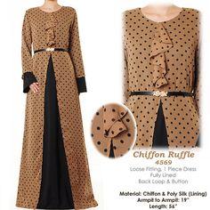 Brown Polkadot Chiffon Ruffle Neck Abaya Bell by MissMode21, $34.00