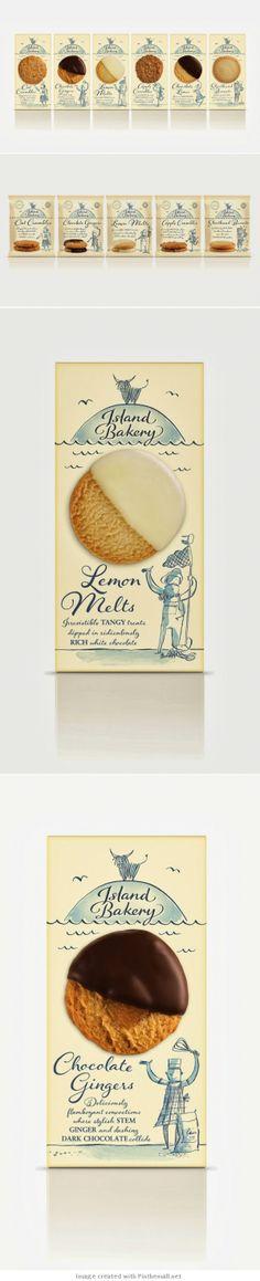Island Bakery Agency: Ziggurat Brands Country: United Kingdom So sweet. Bakery Packaging, Cookie Packaging, Food Packaging Design, Packaging Design Inspiration, Brand Packaging, Branding Design, Bakery Branding, Design Poster, Graphic Design
