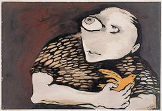 Child with yellow bird. Joy Hester.