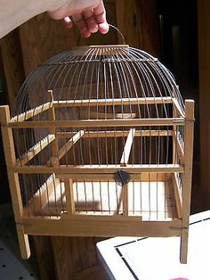 Vintage Hand Crafted Wood and Wire Decorative DOMED Birdcage folk art