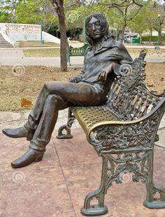 Statue of John Lennon in a park in Havana, Cuba. He is revered there.