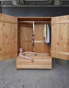 Portable Bathtub That Also Doubles As A Closet Sauna House Wooden
