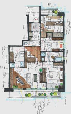 リノベーション後 Japanese Architecture, Architecture Plan, Villa Plan, Plan Sketch, Interior Design Sketches, Arch Interior, House Inside, House Floor Plans, Planer