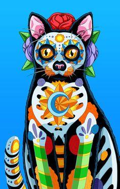 Day Of The Dead Art, Autumn Art, African Animals, Mexican Folk Art, Halloween Cat, Skull Art, Cool Cats, Cat Art, Beautiful Creatures