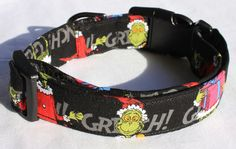 The Grinch Who Stole Christmas Dr. Seuss Dog Collar by xfauxpawsx, $18.00