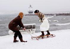 Wedding Photos in a Northeast blizzard