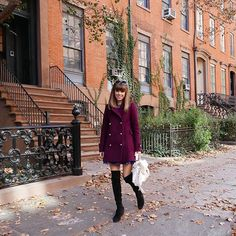 Favorite color of the season; Burgundy is my new black.  @stuartweitzman boots + @zimmermann_ coat = favorite fall outfit #nyc #fall #casualchic
