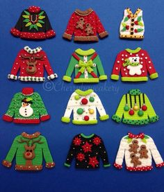 Ugly Christmas Sweater Cupcake Toppers Fondant by CherryBayCakes
