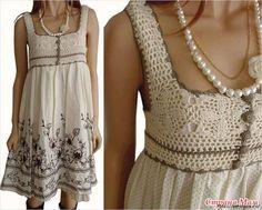 Crochet + tela. (Idea de la Internet)
