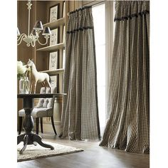 Ballard Designs Check Drapery Panel with Valance Small Black Check (£145) ❤ liked on Polyvore featuring home, home decor, window treatments, curtains, small black check, pleated draperies, french home decor, pleated curtains, black valance and pleated valance
