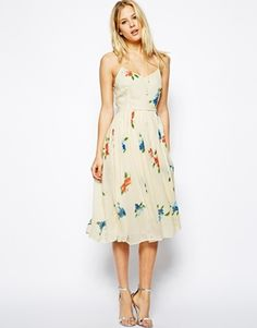 Image 4 ofASOS Midi Dress with Pleated Skirt in Floral Print